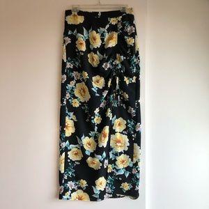 3/$25 SALE Black Floral Slit Maxi Skirt